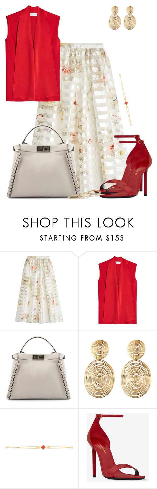 """""""SILK"""" by dazzlious ❤ liked on Polyvore featuring Fendi, Victoria Beckham, Gas Bijoux, Yves Saint Laurent and Sophie Bille Brahe"""
