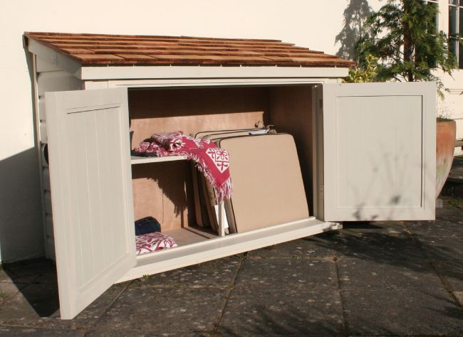 the handmade garden storage company exeter patio cabinet finished in cream - Garden Sheds Exeter