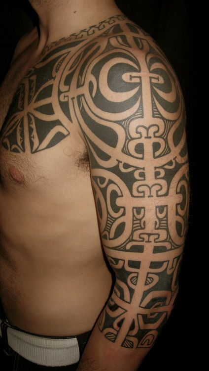 Freehand Marquesan sleeve by Chris Higgins-HIggins and Co Tattoo-Eastbourne-England