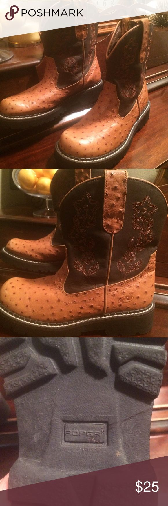 Women's Ostrich Roper boots Ostrich boots in great condition. Very comfortable. Roper Shoes Ankle Boots & Booties