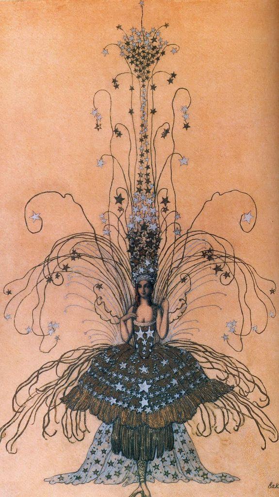"Marchesa Casati's ""Queen of the Night""-costume, sketch by Leon Bakst"