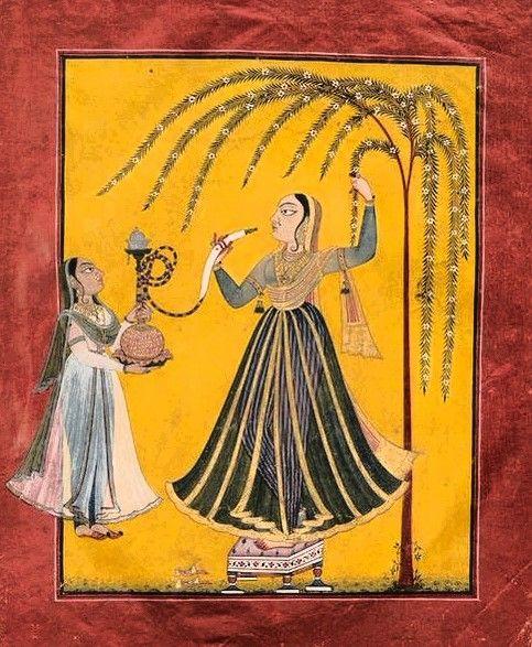 Woman under a flowering tree smoking a huqqa. Indian, Pahari, third quarter 18th century. Mankot, Punjab Hills, Northern India