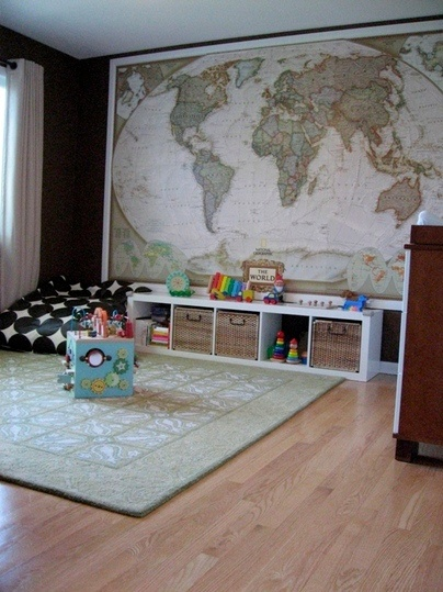 I want to hang a large map of the world one wall, maybe in my living room, or study.