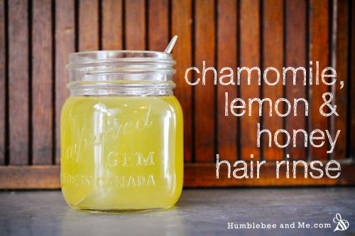 Natural High Lightening: 2 Tbsp of chamomile, 1 cup of boiling water, juice of half a lemon, and 1 tsp of raw honey
