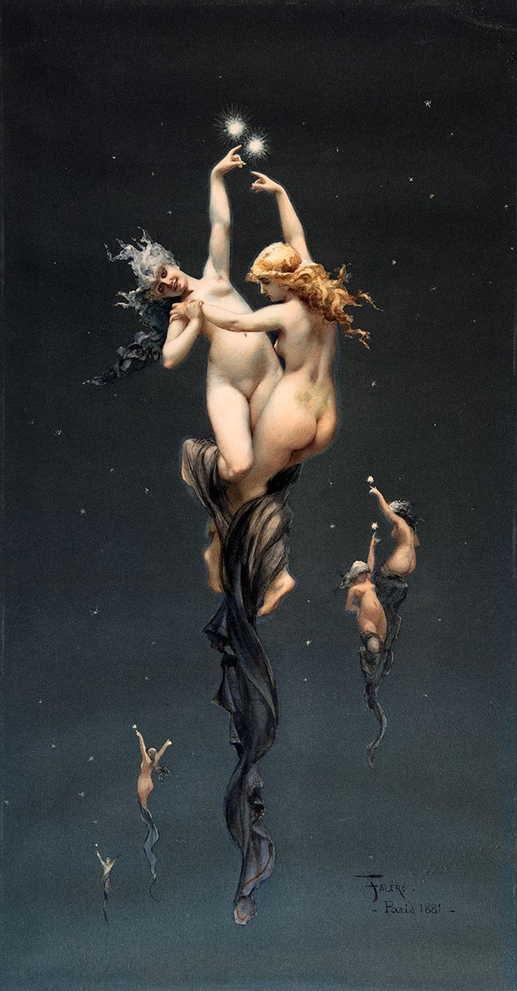 Enchanting image, but yes, the star to our left does have an odd look to her eyes. Twin Stars, by Luis Ricardo Falero.