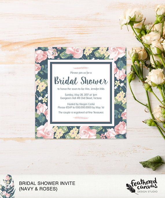 Check out this item in my Etsy shop https://www.etsy.com/ca/listing/566768520/diy-bridal-shower-invite-navy-roses
