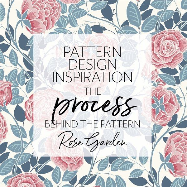 "Do you like behind-the-scenes glimpses into other artists creative processes too? I love them! So just posted a new blog article about how I create my ""painted"" look when coloring my pattern motifs in Adobe Illustrator + how I made the Rose Garden pattern"