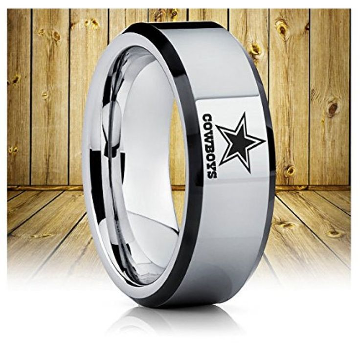 Tungsten Band with Beveled Edge NFL Football Dallas Cowboys Logo Ring