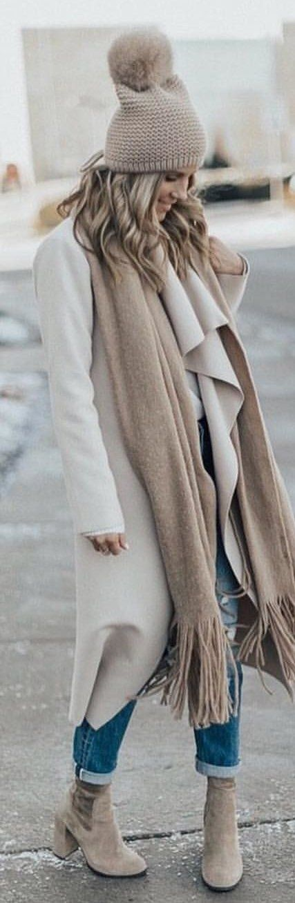 #winter #outfits white coat with blue denim jeans. Pic by @london_style_blog.
