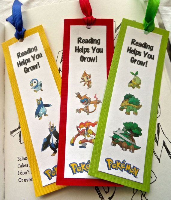 Pokemon Character Bookmark  Party Favors by MarksOnMyHeart on Etsy