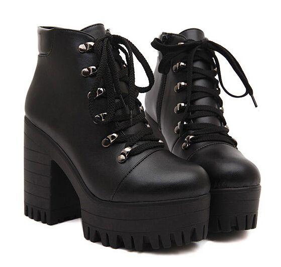 Preto sapatos de plataforma mulher outono de punk botas grossas de salto alto senhoras bombas mulheres motocicleta botas para mulheres Y38 em Botas de Sapatos no AliExpress.com | Alibaba Group