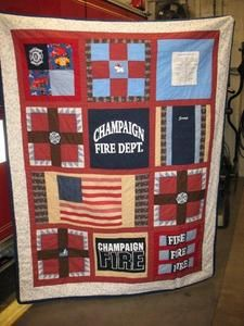 fireman quilt - the firefighters prayer is in the top right corner.