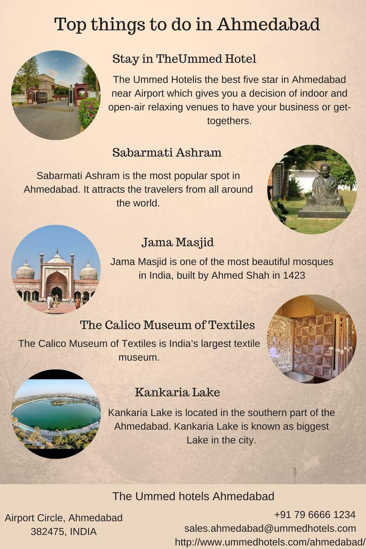 Top things to do in Ahmedabad. Stay in #TheUmmedHotel, #SabarmatiAshram, #JamaMasjid, #TheCalicoMuseumofTextiles, #KankariaLake.
