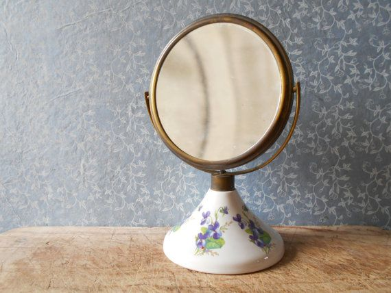 Mid century mirror by Sgrafo Modern Peter Müller, make up magnifying 2 sides mirror with violets decor on porcelain base, bathroom mirror.