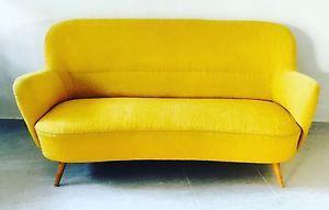 Divano due posti Vintage anni '50 Tessuto Giallo con Struttura in Legno | eBay