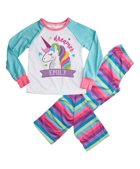 Aqua & Pink Unicorn Personalized Loungewear Set