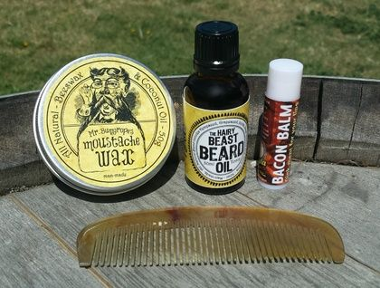 The Big Wax Combo - Feed your face with this manly combo. Mr Bumgropes Moustache Wax, Hairy Beast Beard Oil, Bacon Balm and a Goat Horn Comb. Would you like fries with that?