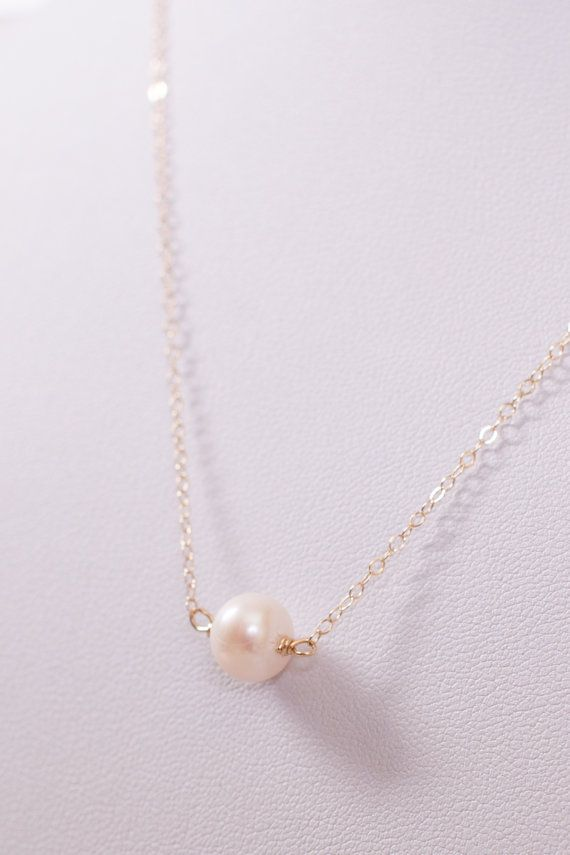 delicate gold necklace with pearl by rosewaterdesigns on Etsy