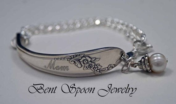 MOM ID Style Engraved Spoon Bracelet, Queen Bess 1946, Engraved Wedding Day Gift, Mothers Day    Professional Custom Engraved MOM bracelet for