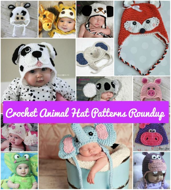 10-free-patterns-for-crochet-animal-hats #diy #craft #crochetpattern