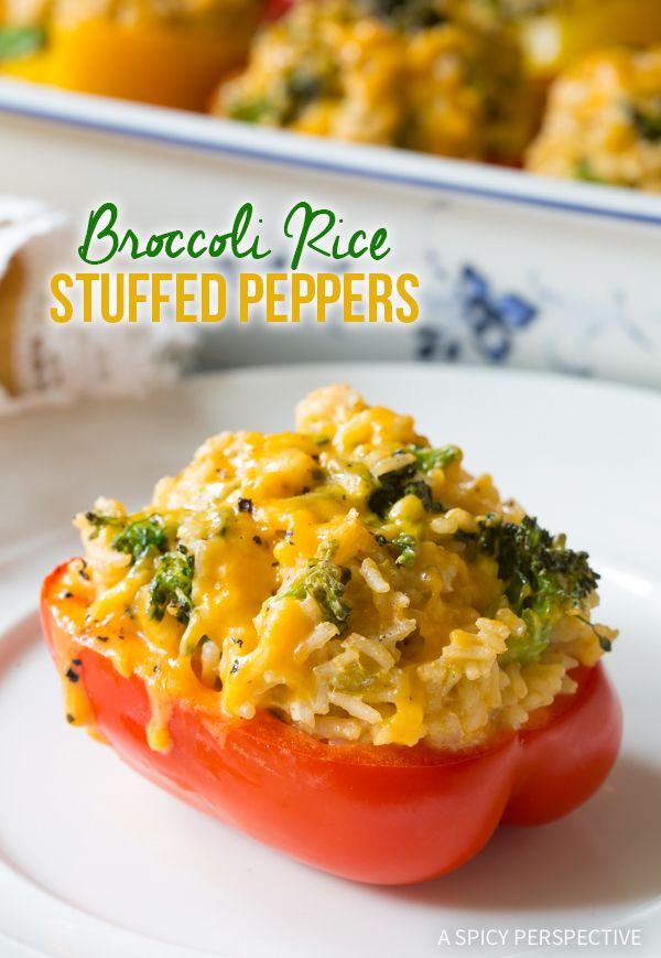 Warm Cheesy Broccoli Rice Stuffed Peppers Recipe #vegetarian