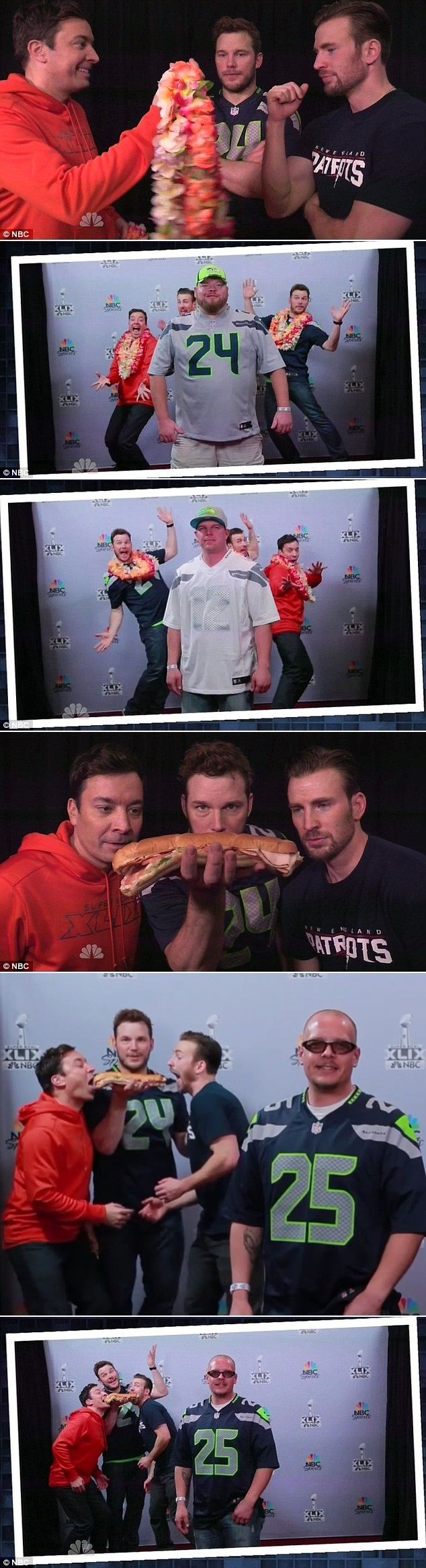 Chris Pratt and Chris Evans photobomb Super Bowl fans' photos with Jimmy Fallon