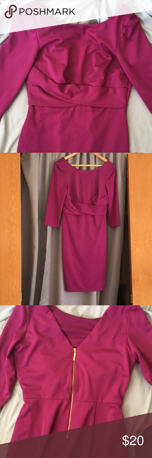 Professional purple work dress 3 quarter length sleeves, hits above knees and cute cut out in back with exposed gold zipper on back. Great for winter with tights or summer as a heavier option. Dresses
