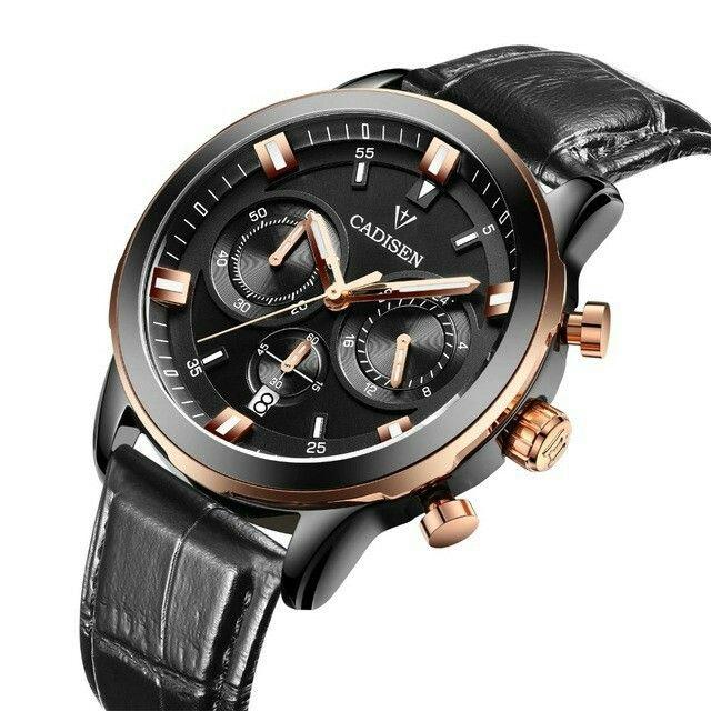 CADISEN Luxury Top Brand Watches Men Fashion Quartz Watch Classic Date Leather Waterproof Male Wristwatch Relogio Masculino