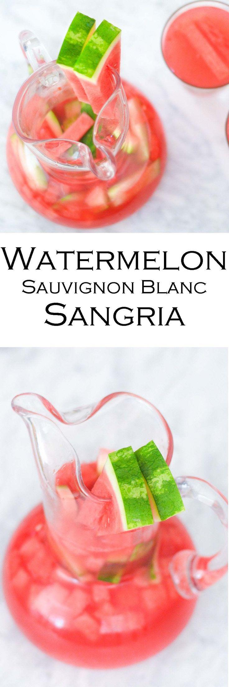 Watermelon Sangria - White Wine Summer Sangria #LMrecipes #sangria #whitewine #drinks #drinkrecipe #sauvignonblanc #whitewinesanria #drinkrecipes #summersangria #summerdrinks #watermelondrink #watermelon #foodblog #foodblogger