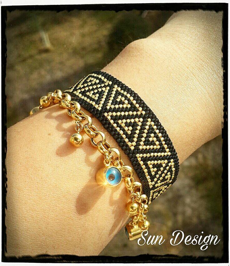 Siyah bileklik #miyuki #peyote #brick #stitch #tasarim #moda #taki #tohum #kum #boncuk #pattern #bracelet #necklace #fashion #black #gold #altın #sundesign #love
