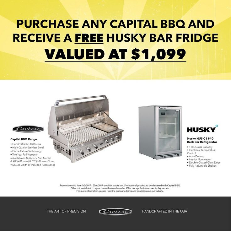 FREE Husky Wine Fridge with any CAPITAL BBQ & Outdoor Cooking Centre*