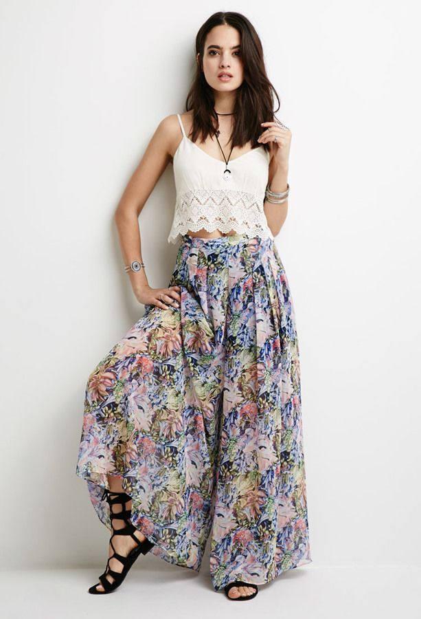 FOREVER 21 Pleated Floral Chiffon Palazzo Pants