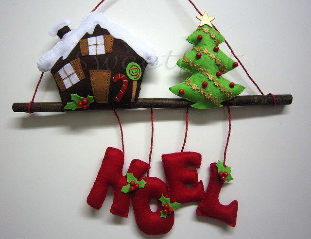casa, árbol, Noel, ramita