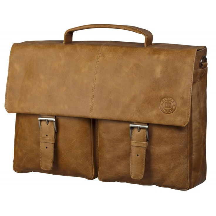 "Golden tan leather briefcase w. pockets for PC & MacBooks up to 16"". Price: $330. More information: www.dbramante1928.com."