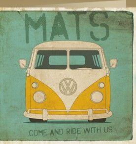 Oud VW Busje (4420) : Een cool jongens geboortekaartje met een coole vw bus en retro-loopauto. De papiersoorten mat en structuur zijn hiervoor het mooiste