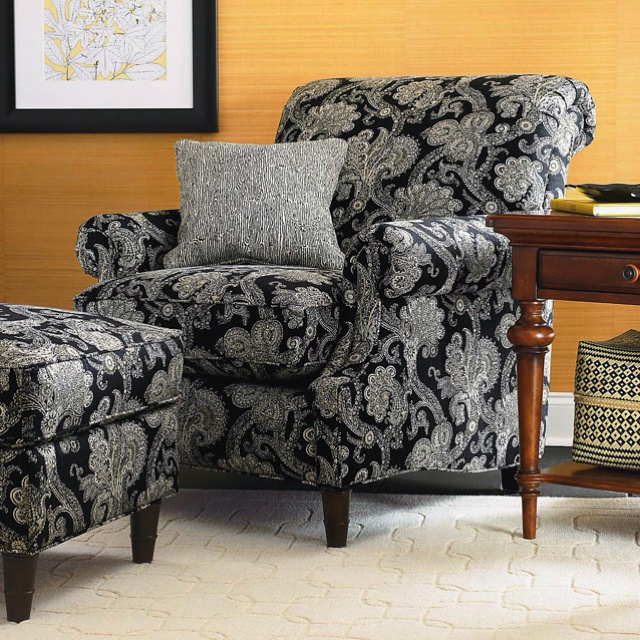 Black Paisley Print Against Yellow Wall. Sunroom FurnitureFurniture IdeasLiving  Room ... Part 67