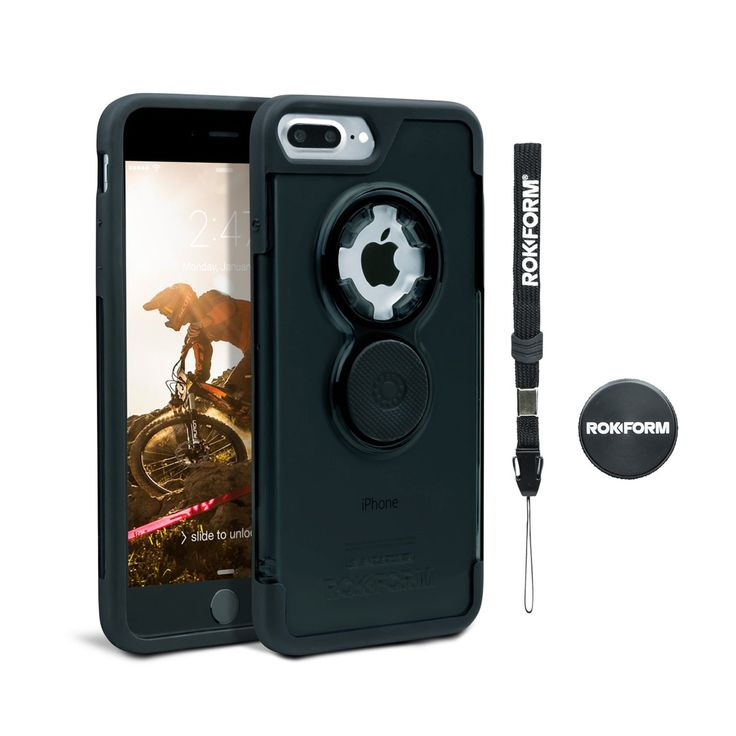 Rokform iPhone 7 PLUS Crystal Series Ultra-Light Dual Compound Protective Phone Case with Patented twist lock mount and universal magnetic car mount. (BLACK)