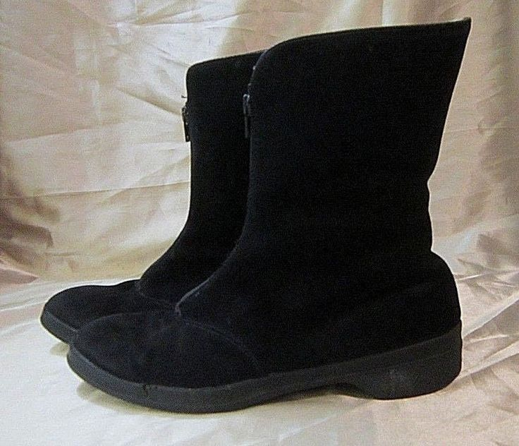MORLANDS BLACK SUEDE BOOTS w/GENUINE SHEEPSKIN LINING - England, Front Zipper 7M #Morlands #MidCalfBoots #Outdoor $37.99