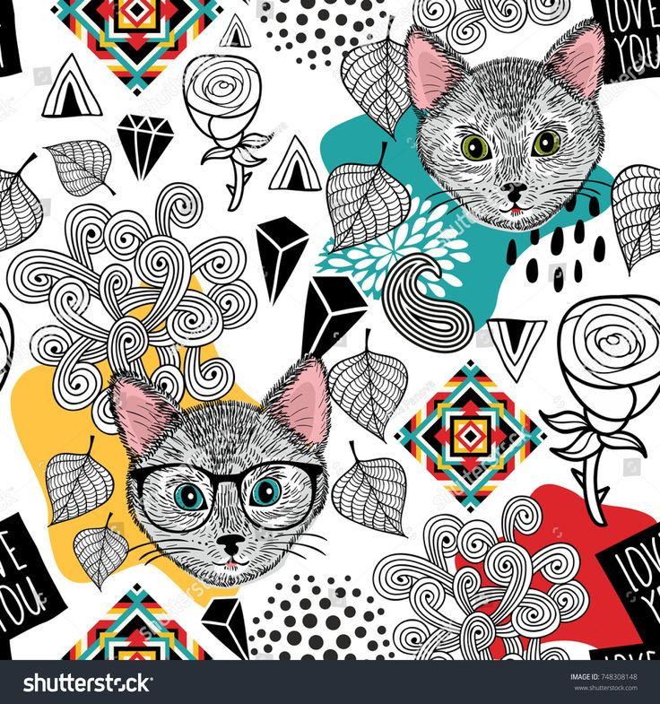 Cute animals seamless pattern. Vector endless wallpaper with cats and design elements.