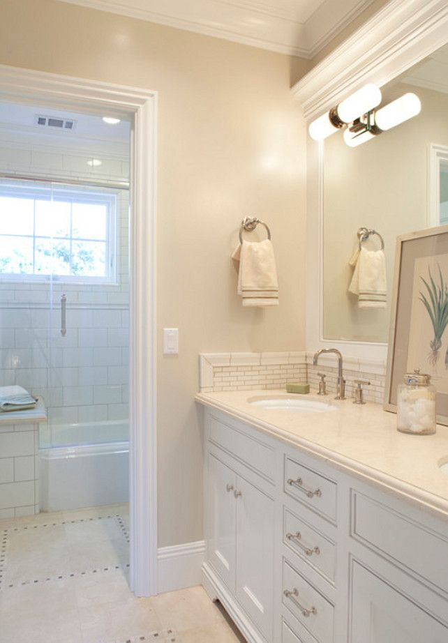 This Bathroom Almost Went Right Except For The Light Fixture Choice And The  Towel Ring. Interior Paint Color Ideas U201cBenjamin Moore Berber White AND  Love The ...