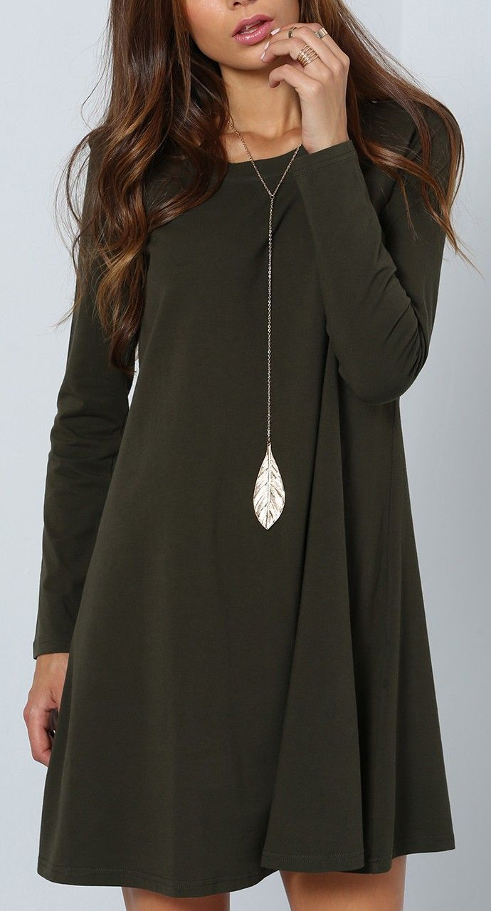 Dark Green Fall Dress + Long Pendant Necklace