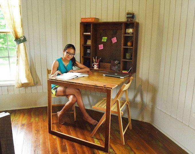 Doblar hacia abajo escritorio - escritorio plegable para apartamentos, casa pequeña, estudiantes universitarios o dormitorio de reclamado muebles madera de madera, granero granero