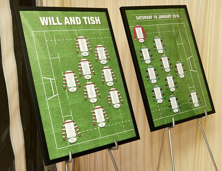 Bespoke rugby themed table plans created by us for the wedding of Will and Tish.