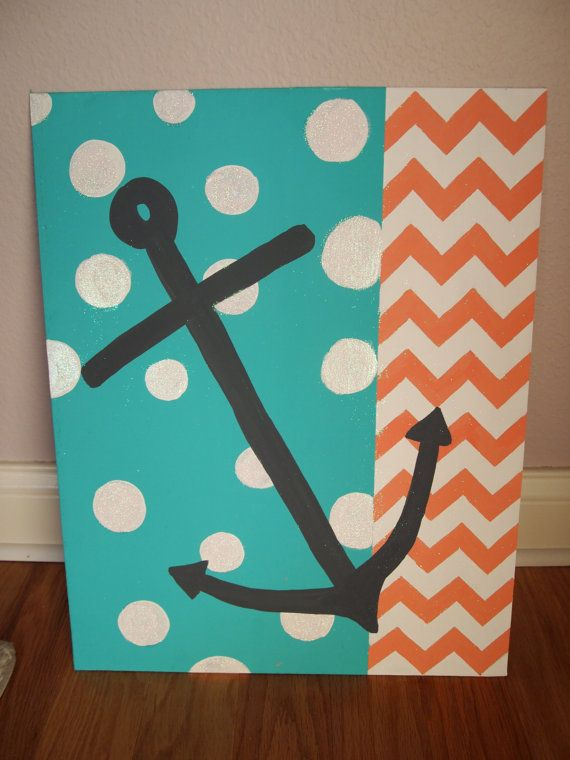 Hand painted acrylic painting chevron and anchor design