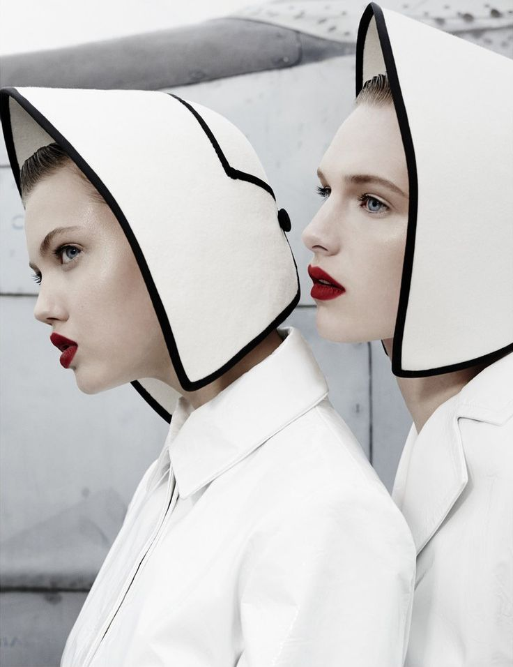 Lindsey Wixson and Ashleigh Good for W Magazine November 2013 wearing Ellen Christine Couture felt hats, available by special order. #passion4hats