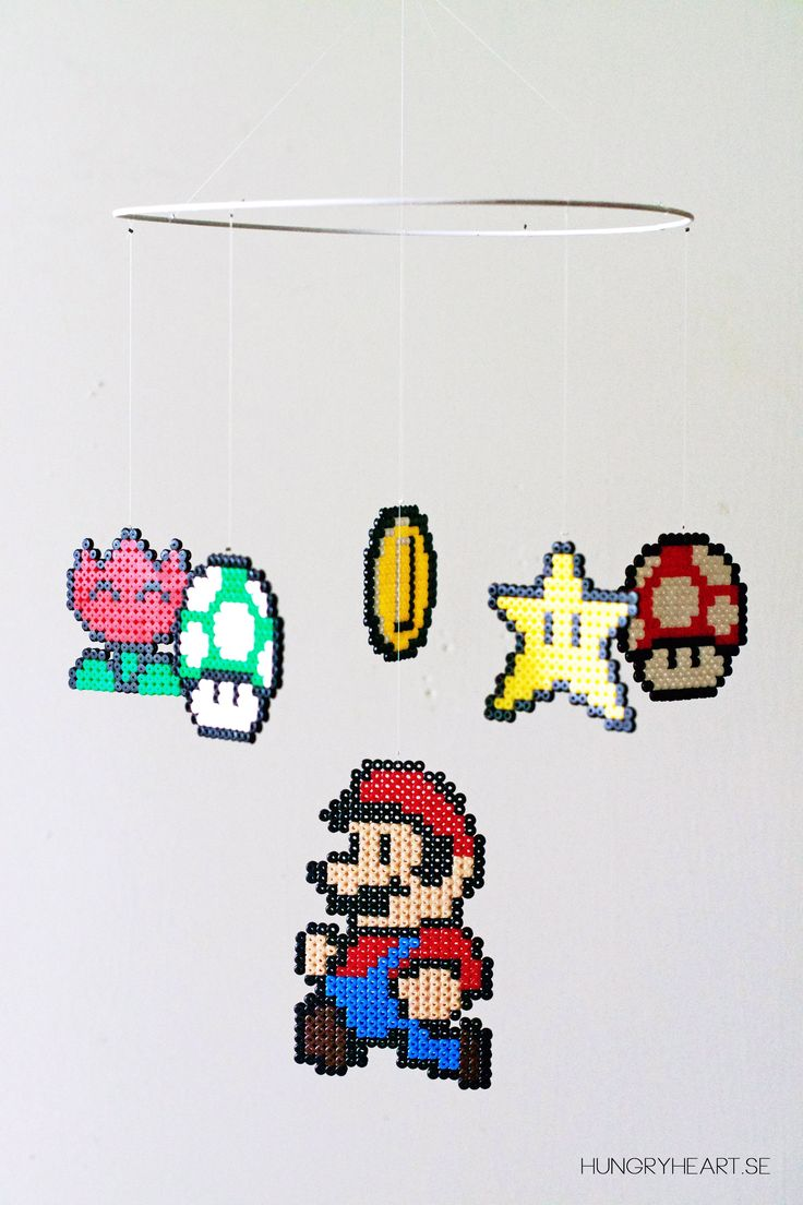 How to make a Super Mario mobile with hama / perler beads (free patterns). Step by step tutorial.