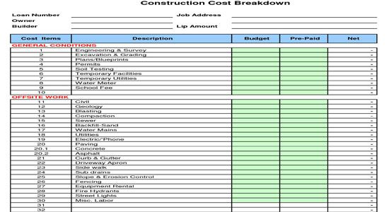 Construction cost breakdown sheet a cost breakdown sheet for Construction material costs