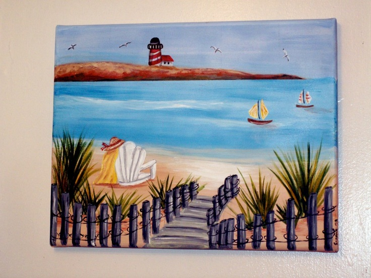 Beach scene painted on canvas cooler painting ideas for Scene ideas