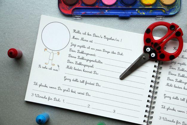 Unser wundervolles Kindergarten-Freundebuch OHNE Tasche!  DAS BUCH KOMMT IN HELLTÜRKIS-WEIß VICHY KARO! SONST IDENTISCH!!!  Mit ordentlich Platz fürs Foto, tollen Papierschiffchen für Eure...