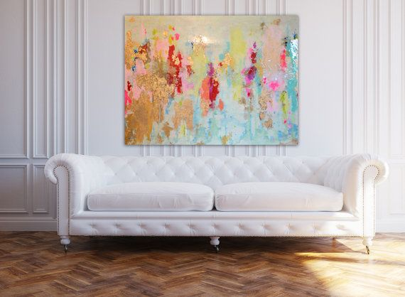 "Gold Leaf Acrylic Abstract Art Large Canvas Painting Blue, Pink, Gold, Pastel, Ombre Glitter with Glass and Resin Coat 36"" x 48"""